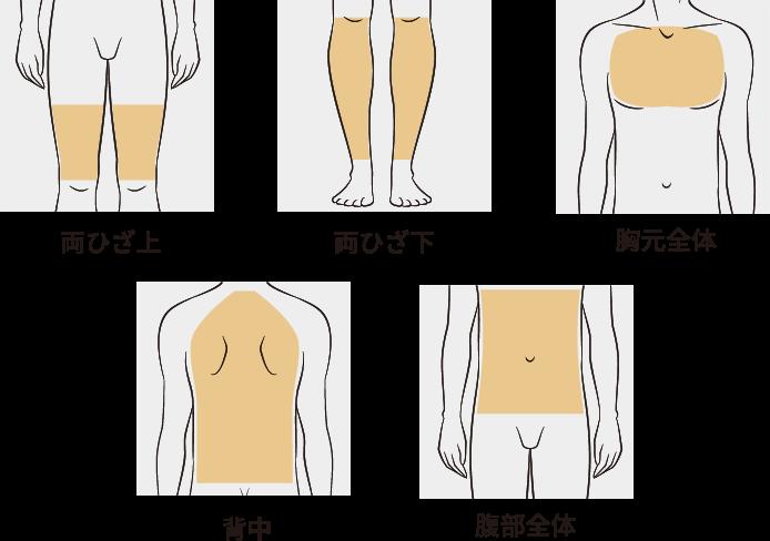 両ひざ上 両ひざ下 胸元全体 腹部全体 背中