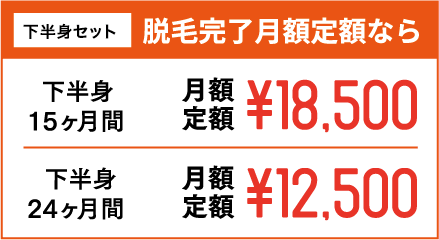 下半身セット 脱毛完了月額定額なら 下半身15ヶ月間 月額定額¥18,500 下半身24ヶ月間 月額定額¥12,500
