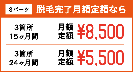 Sパーツ 脱毛完了月額定額なら 3箇所15ヶ月間 月額定額¥8,500 3箇所24ヶ月間 月額定額¥5,500