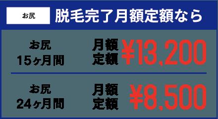 Vライン 脱毛完了月額定額なら Vライン15ヶ月間 月額定額¥13,200 Vライン24ヶ月間 月額定額¥8,500