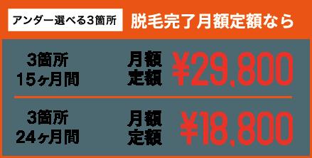 アンダー選べる3箇所 脱毛完了月額定額なら 3箇所15ヶ月間 月額定額¥29,800 3箇所24ヶ月間 月額定額¥18,800