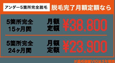 アンダー5箇所完全脱毛 脱毛完了月額定額なら 5箇所完全15ヶ月間 月額定額¥38,800 5箇所完全24ヶ月間 月額定額¥23,900 ※脱毛保証VIOは3年制限